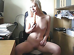 Big dildo was sucked and pushes in luscious pussy of girl