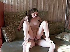 Babe bounds on hard dick after nice fucking in doggie