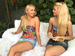 Two cute teen girls playing and eating each others pussies