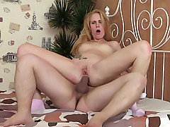 Fellow is stuffing pussy and ass of beauty by his fat rod