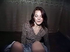 Brunette ball licker teases his cock with her lipstick covered lips