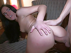 Very hot brunette gal stands doggy style getting dick in ass