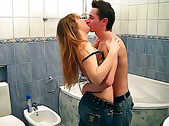 Horny guy seduces and undressed neat teen girl in the bathroom