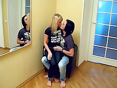 Sexy beauty gets lips kissed and black t-shirt taken off