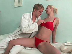 Sweet nurse plays with dick of doctor using her hands
