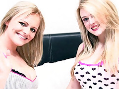 Two lesbian chicks playing around with their huge boobs