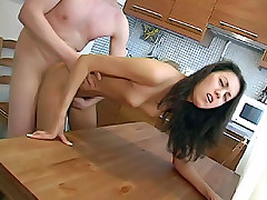 Babe feels a lot of fresh jizz on her after having wild sex