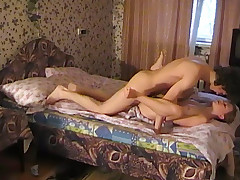 First she rides his cock then he pounds her tender tight pussy
