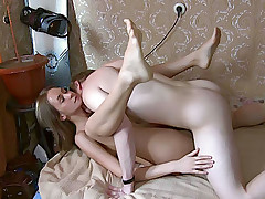 Gal stands in different positions feeling rod in loving hole