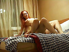 Redhead babe bounds on fat dick and then gives nice blowjob