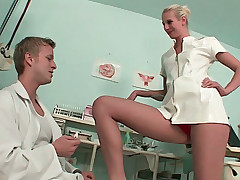 Gorgeous leggy blonde nurse shows body to the doctor