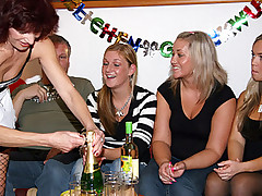 Freckled birthday redhead having sex on her groupsex party