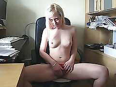 Cute girl spreads legs wide open and touches her pussy