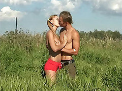 Blazing hot and horny teen couple fucking outside