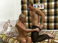 Cute blonde chick undresses her BF and sucks his cock